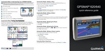 Garmin GPSMAP 640 - Quick Reference Guide