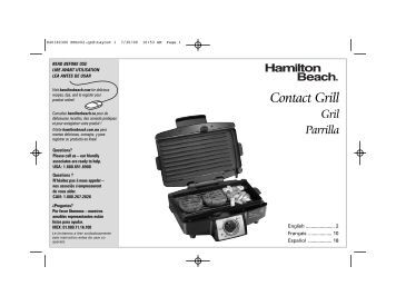 Hamilton Beach Easy-Clean Indoor Grill (25332) - Use and Care Guide