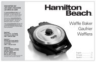 Hamilton Beach Durathon® Mess-Free Belgian Style Waffle Maker (26043) - Use and Care Guide