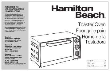 Hamilton Beach 4 Slice Toaster Oven (31401) - Use and Care Guide