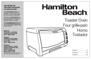 Hamilton Beach Convection Toaster Oven (31333) - Use and Care Guide
