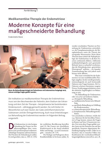 Medikamentöse Therapie der Endometriose - Hormonzentrum Köln