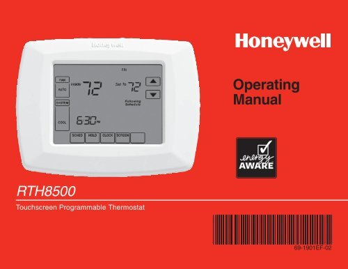 honeywell 7 day programmable thermostat rth8500d manual and user rh manualsmania com honeywell thermostat rth8500 installation manual Honeywell 8500D Thermostat