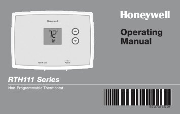 Honeywell Digital Non-Programmable Thermostat (RTH111B) - Digital Non-Programmable Thermostat Operating Manual (English,Spanish)
