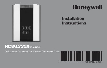 Honeywell Premium Portable Wireless Chime & Push Button (RCWL330A) - Premium Portable Plus Wireless Chime and Push Button Installation Instructions (English, French, Spanish)