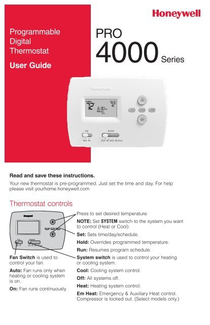 Honeywell pro 4000 5 2 day programmable thermostat manual and user honeywell pro 4000 5 2 day programmable thermostat pro 4000 5 2 day programmable thermostat owners manual englishfrenchspanish sciox Images
