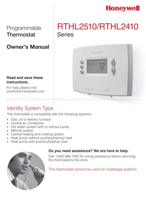honeywell 5 1 1 day programmable thermostat rthl2410c manual and rh manualsmania com