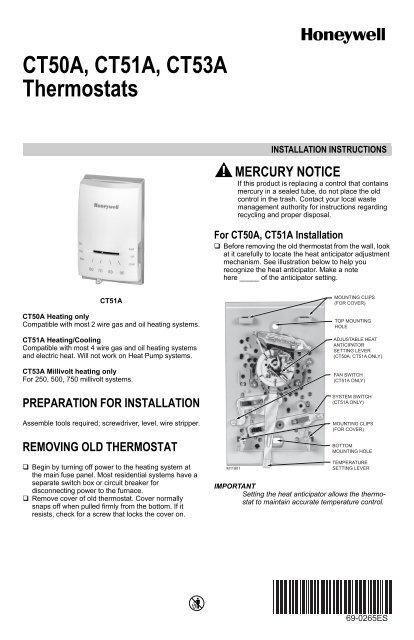 honeywell standard non programmable thermostat ct5x manual and honeywell standard non programmable thermostat ct5x standard non programmable thermostat installation manual english spanish