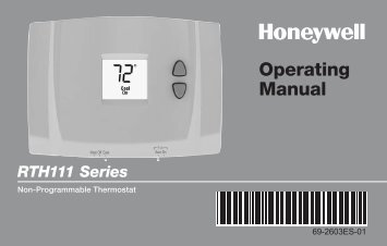 Honeywell Digital Non-Programmable Thermostat (RTH111B1016) - Digital Non-Programmable Thermostat Operating Manual (English,Spanish)