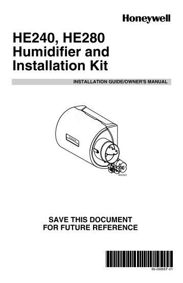 honeywell he225 humidifier installation manual