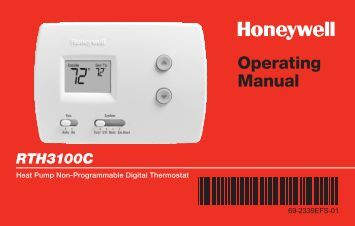 Honeywell Digital Non-Programmable Thermostat - Heat Pump (RTH3100C) - Digital Non-Programmable Thermostat Operating Manual (English,French,Spanish)