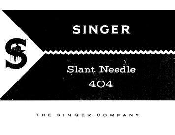 Singer 404 Slant Needle - English - User Manual
