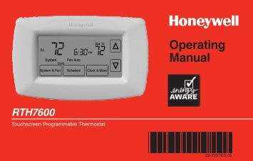 Honeywell 7-Day Programmable Thermostat (RTH7600D) - 7-Day Programmable Thermostat Operating Manual (English,Spanish)