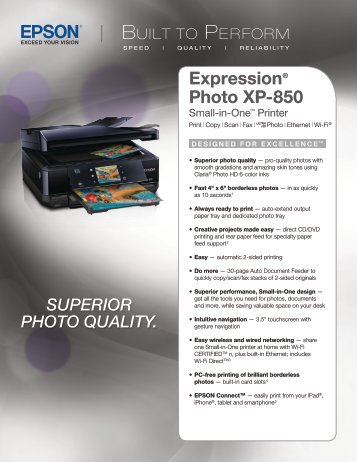 Epson Epson Expression Photo XP-850 Small-in-One® All-in-One Printer - Product Brochure