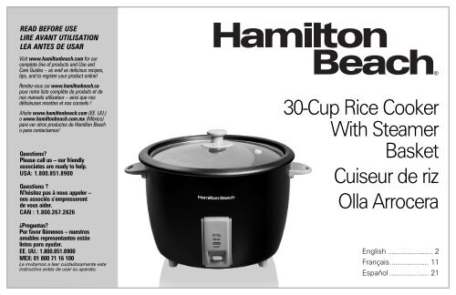 d35851412 Hamilton Beach 30 Cup Capacity (Cooked) Rice Cooker (37550) - Use and Care  Guide