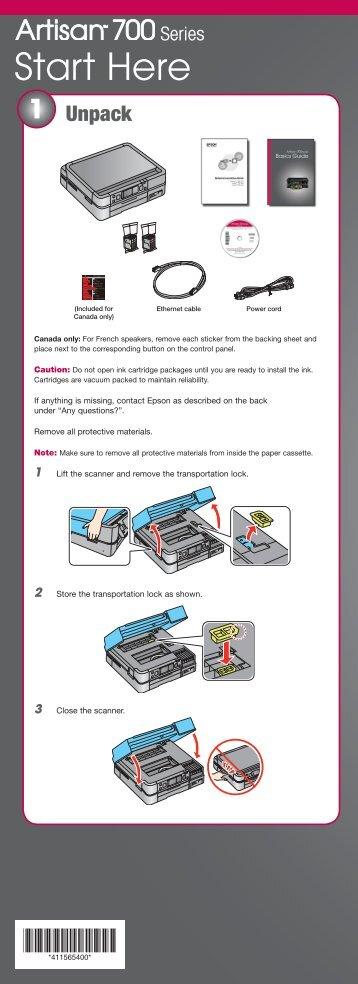 Epson Epson Artisan 700 All-in-One Printer - Start Here - Installation Guide