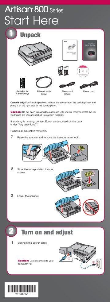 Epson Epson Artisan 800 All-in-One Printer - Start Here - Installation Guide