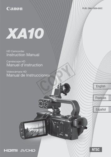 Canon XA10 - XA10 Instruction Manual