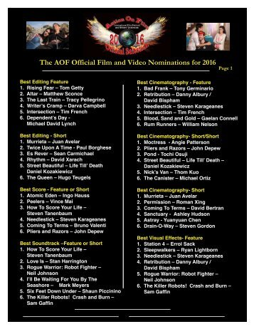 The AOF Official Film and Video Nominations for 2016