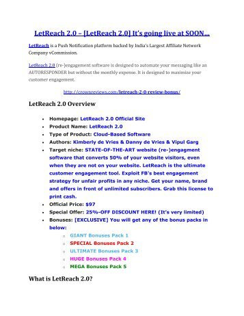 LetReach 2.0 review-$26,800 bonus & discount