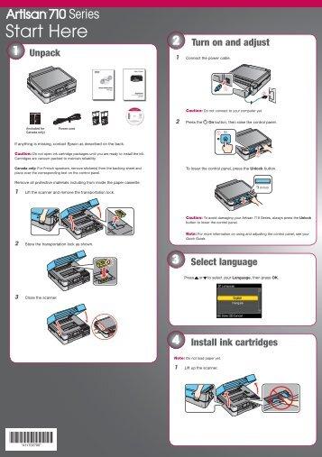 Epson Epson Artisan 710 All-in-One Printer - Start Here - Installation Guide
