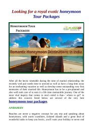 Visit India Top Best Places For Honeymoon Tour Packages