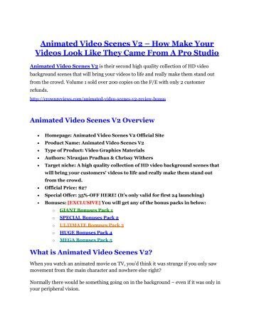 Animated Video Scenes V2 Review and (MASSIVE) $23,800 BONUSES