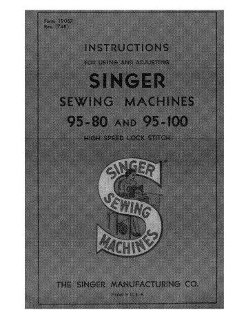 Singer 95-80 95-100 - English - User Manual
