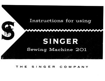 Singer 201 201-1 201-2 201-3 201-4 1200-1 - English - User Manual