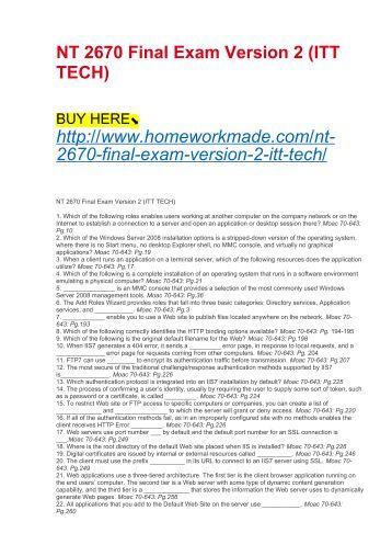 NT 2670 Final Exam Version 2 (ITT TECH)