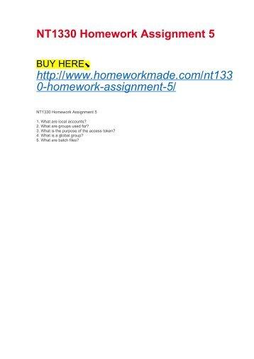 NT1330 Homework Assignment 5