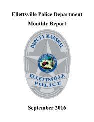 Ellettsville Police Department Monthly Report September 2016
