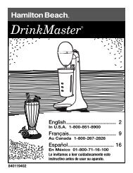 Hamilton Beach DrinkMaster® White Drink Mixer (727B) - Use and Care Guide