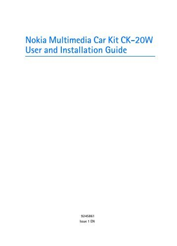 Nokia Multimedia Car Kit CK-20W - Multimedia Car Kit CK-20W manual