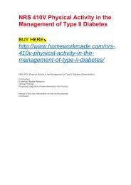 NRS 410V Physical Activity in the Management of Type II Diabetes