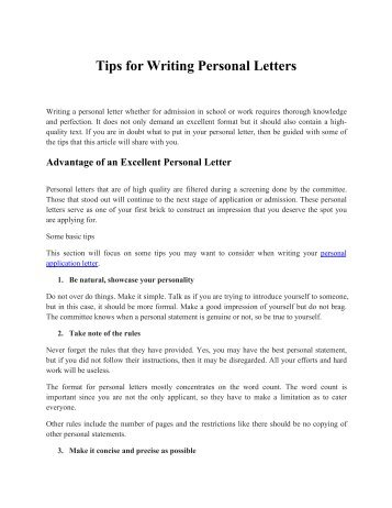Little Known Secrets in Writing Personal Letters