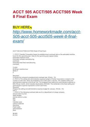 ACCT 505 ACCT:505 ACCT505 Week 8 Final Exam