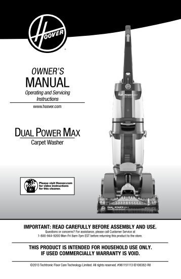 Hoover Dual Power Max® Carpet Cleaner - FH51000 - Manual