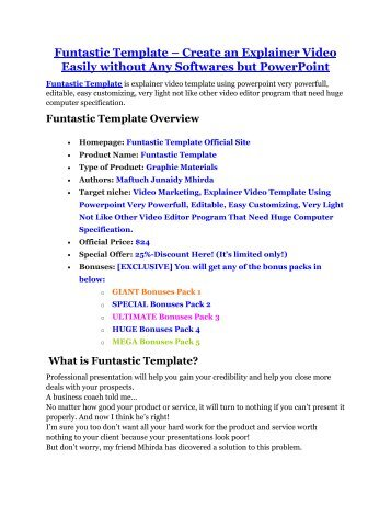Funtastic Template review - Funtastic Template (MEGA) $23,800 bonuses