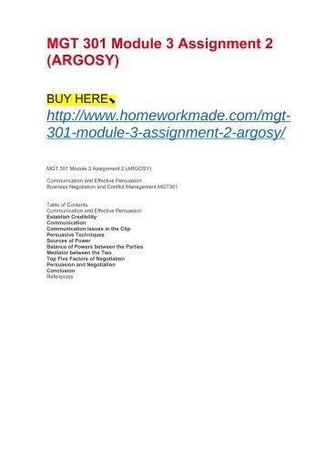 MGT 301 Module 3 Assignment 2 (ARGOSY)