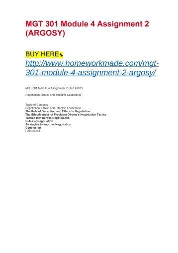 MGT 301 Module 4 Assignment 2 (ARGOSY)