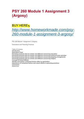 PSY 260 Module 1 Assignment 3 (Argosy)