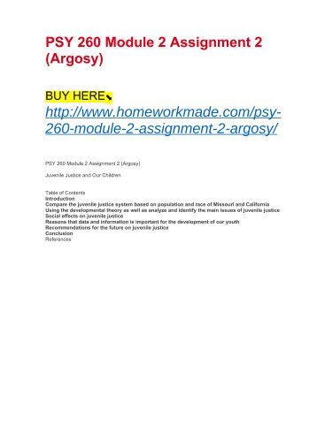 PSY 260 Module 2 Assignment 2 (Argosy)