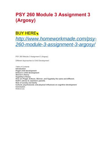 PSY 260 Module 3 Assignment 3 (Argosy)