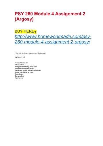 PSY 260 Module 4 Assignment 2 (Argosy)