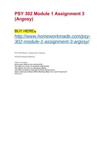 PSY 302 Module 1 Assignment 3 (Argosy)
