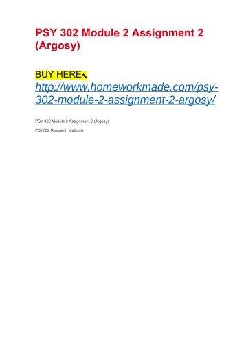 PSY 302 Module 2 Assignment 2 (Argosy)
