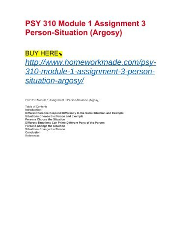 PSY 310 Module 1 Assignment 3 Person-Situation (Argosy)
