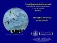 1. Brandenburger Krebskongress - Tumorzentrum Land Brandenburg