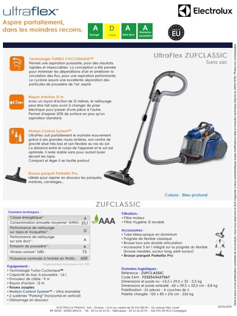 electrolux aspirateur sans sac electrolux ultraflex zufclassic